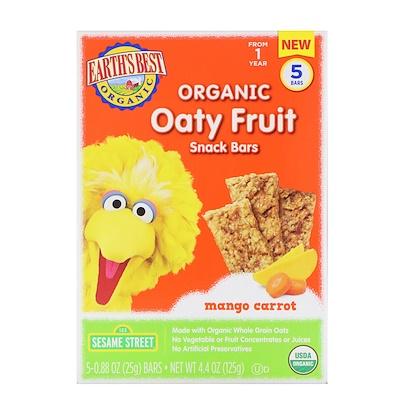 Earth's Best Sesame Street, Organic Oaty Fruit, Snack Bars, Mango Carrot, 5 Bars, 0.88 oz (25 g) Each