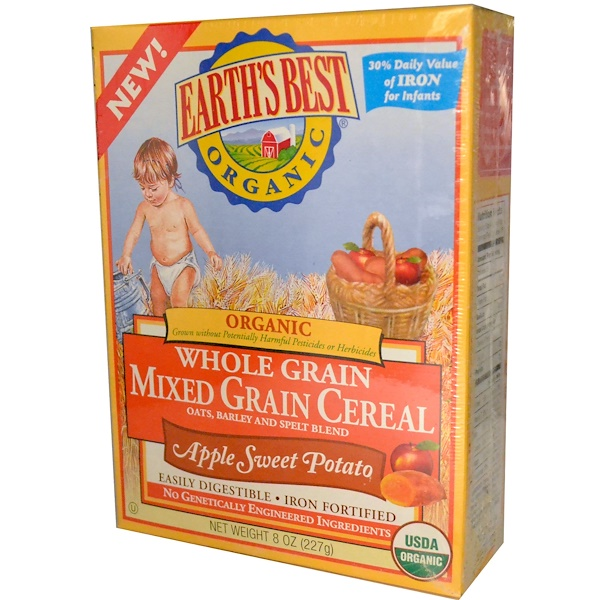 Earth's Best, Organic Whole Grain Mixed Grain Cereal, Apple Sweet Potato, 8 oz (227 g) (Discontinued Item)