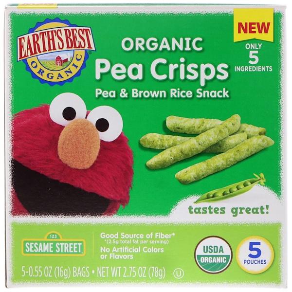 Earth's Best, Sesame Street, Organic Pea Crisps, Pea & Brown Rice Snack, 5 Pouches, 0.55 oz (16 g) Each