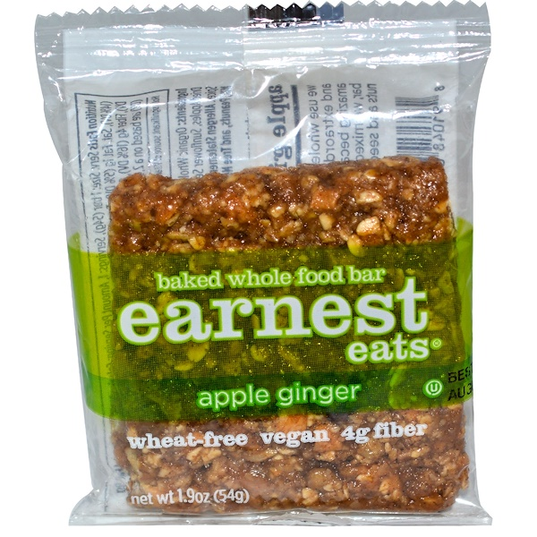 Earnest Eats, Baked Whole Food Bar, Apple Ginger, 1.9 oz (54 g) (Discontinued Item)