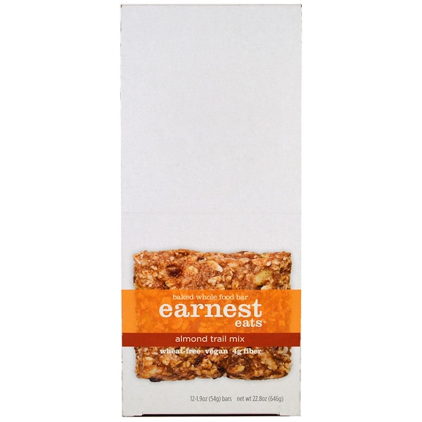 Earnest Eats, Baked Whole Food Bar, Almond Trail Mix, 12 Bars, 1.9 oz (54 g) Each