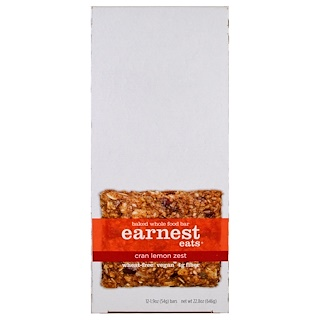 Earnest Eats, Baked Whole Food Bar, Cran Lemon Zest, 12 Bars, 1.9 oz (54 g) Each
