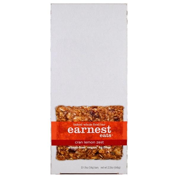 Earnest Eats, Baked Whole Food Bar, Cran Lemon Zest, 12 Bars, 1.9 oz (54 g) Each