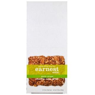 Earnest Eats, Запеченные батончики из цельных продуктов, яблоко-имбирь, 12 батончиков, 1.9 унций (54 г) каждая