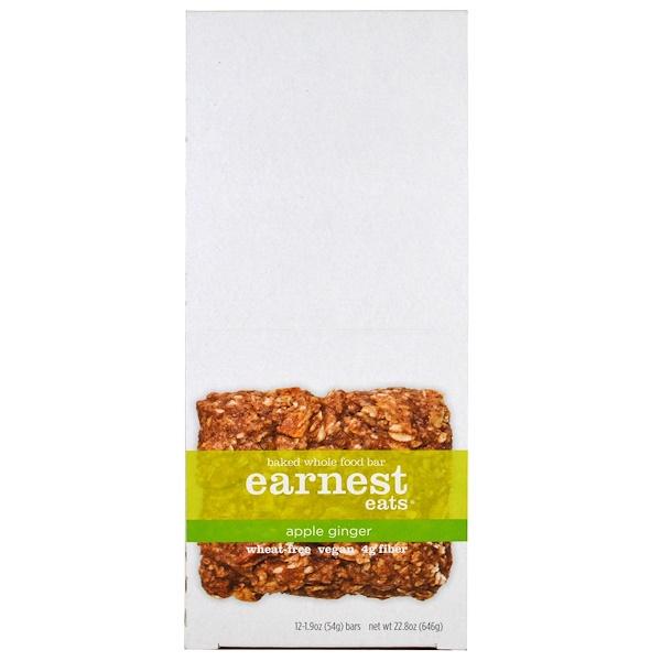 Earnest Eats, Запеченные батончики из цельных продуктов, яблоко-имбирь, 12 батончиков, 1.9 унций (54 г) каждая (Discontinued Item)