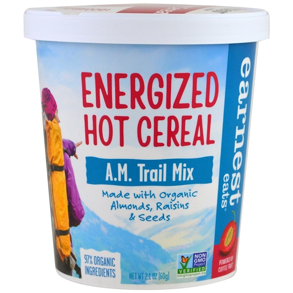 Earnest Eats, Energized Hot Cereal, A、M、 Trail Mix, 2、1 oz (60 g)
