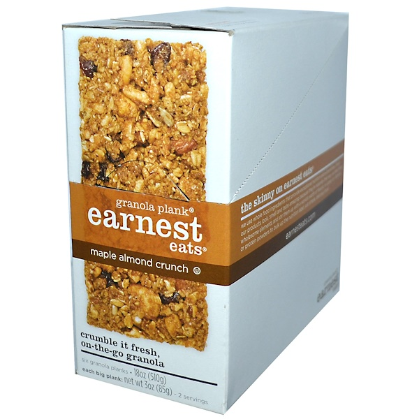 Earnest Eats, Granola Plank, Maple Almond Crunch, 6 Planks, 3 oz (85 g) Each (Discontinued Item)