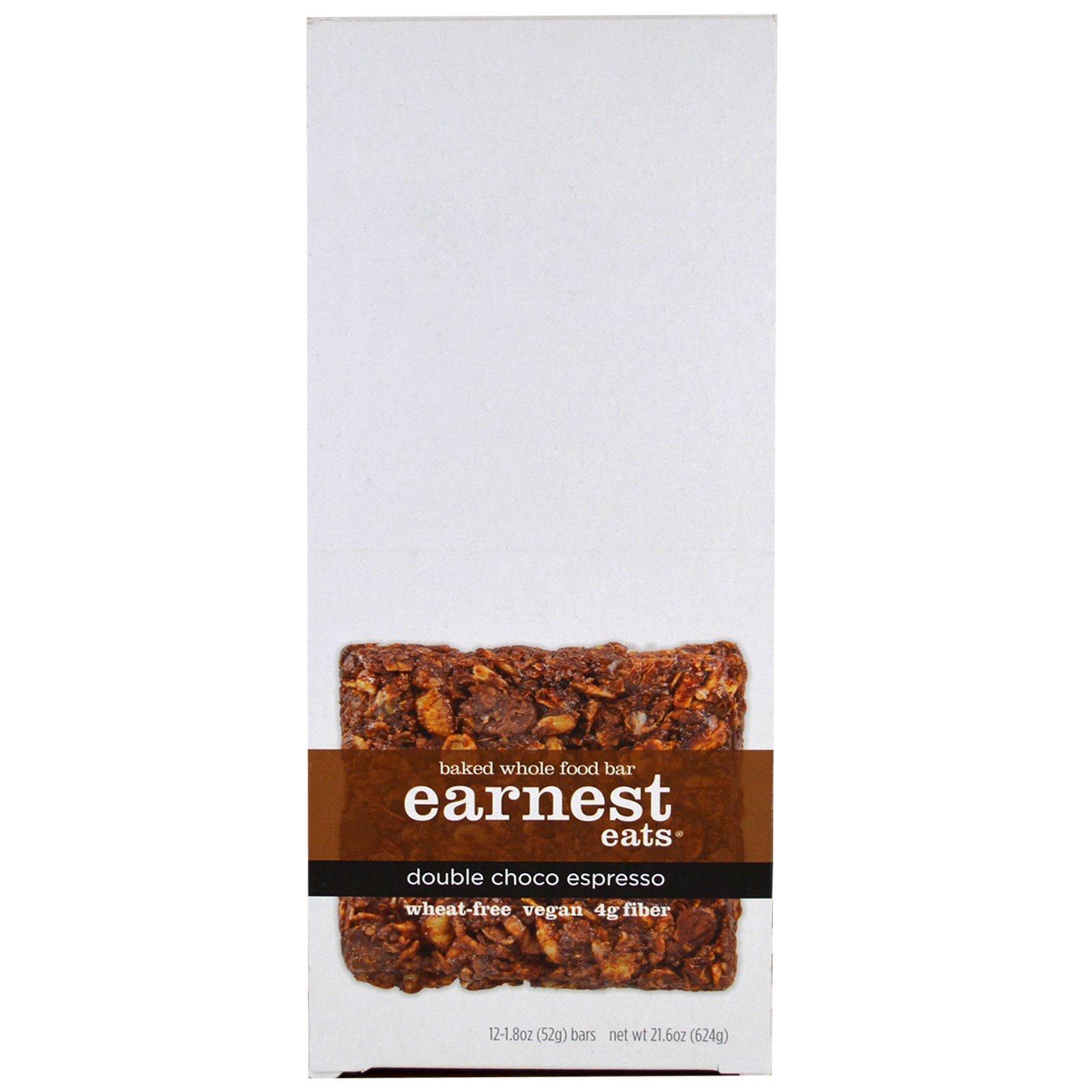 Earnest Eats, Запеченный батончик из цельных продуктов, Двойной шоколадный эспрессо, 12 батончиков, 1,8 унции (52 г) в каждом