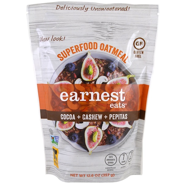 Earnest Eats, Superfood Oatmeal, Cocoa + Cashew + Pepitas, 12.6 oz (357 g)