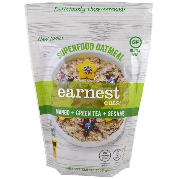 Earnest Eats, Superfood Oatmeal, Mango + Green Tea + Sesame, 12.6 oz (357 g) (Discontinued Item)