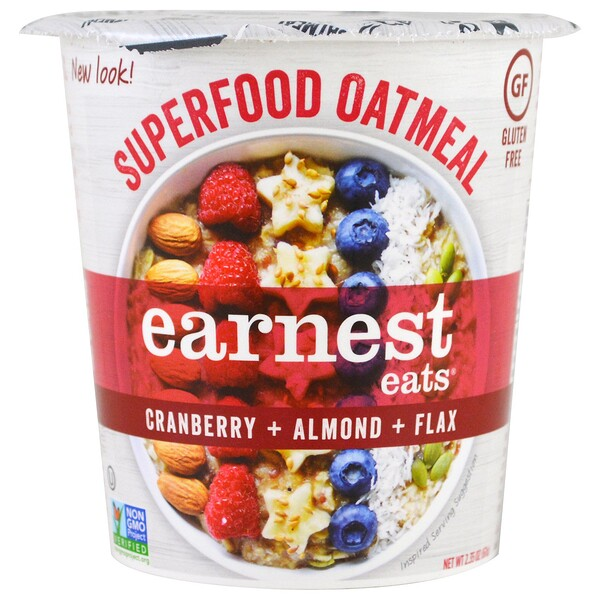 Earnest Eats, Superfood Oatmeal, Cranberry + Almond + Flax, American Blend, 2.35 oz (67 g)