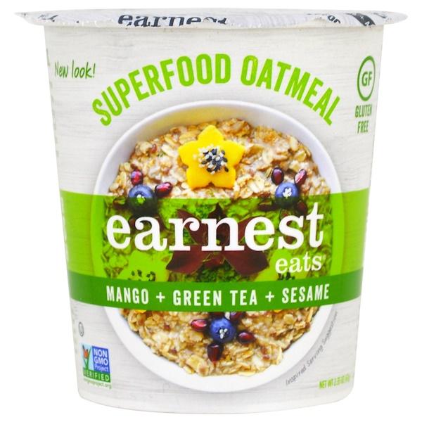 Earnest Eats, 超級食品燕麥片杯,芒果 + 綠茶 + 芝麻,亞洲配方,2、35盎司(67克)