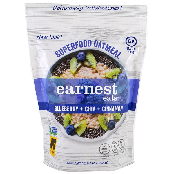Earnest Eats, Superfood Oatmeal, Blueberry + Chia + Cinnamon, 12.6 oz (357 g) (Discontinued Item)