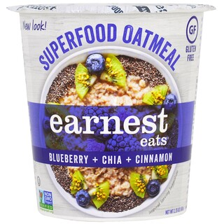 Earnest Eats, SuperFood Oatmeal Cup, Blueberry + Chia + Cinnamon, Superfood Blueberry Chia, 2.35 oz (67 g)