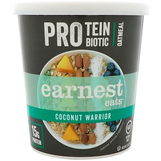 Earnest Eats, Protein Probiotic Oatmeal, Coconut Warrior, 2.5 oz (71 g)