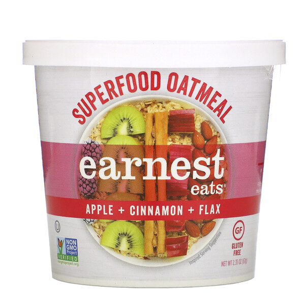 Superfood Oatmeal, Apple + Cinnamon + Flax, 2.35 oz (67 g)