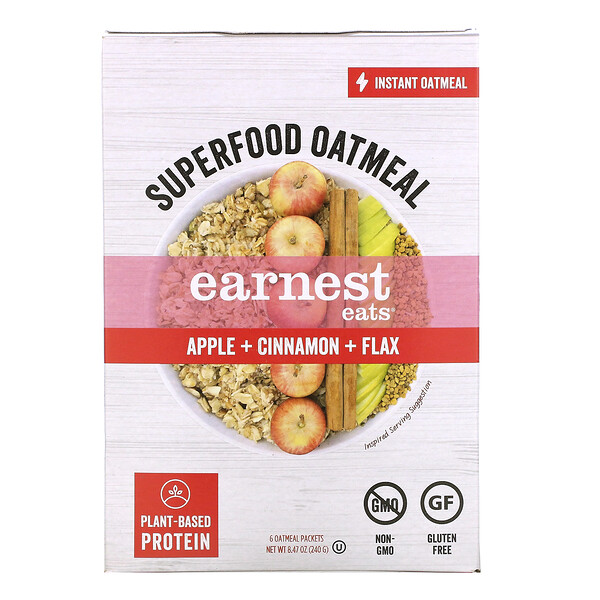 Earnest Eats,  Superfood Instant Oatmeal, Apple + Cinnamon + Flax, 6 Packets, 8.47 oz (240 g)