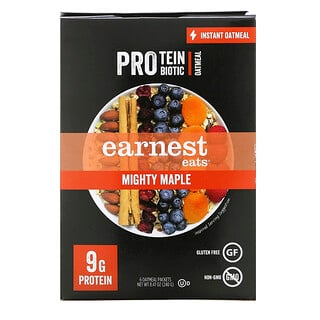 Earnest Eats, Protein & Probiotic Instant Oatmeal, Mighty Maple, 6 Packets, 8.47 oz (240 g)