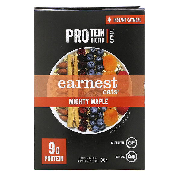 Protein & Probiotic Instant Oatmeal, Mighty Maple, 6 Packets, 8.47 oz (240 g)