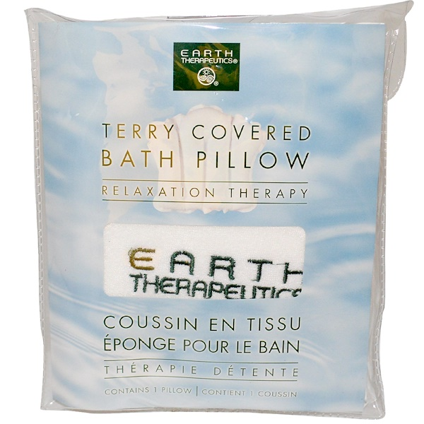 Earth Therapeutics, Terry Covered Bath Pillow, Relaxation Therapy, 1 Pillow