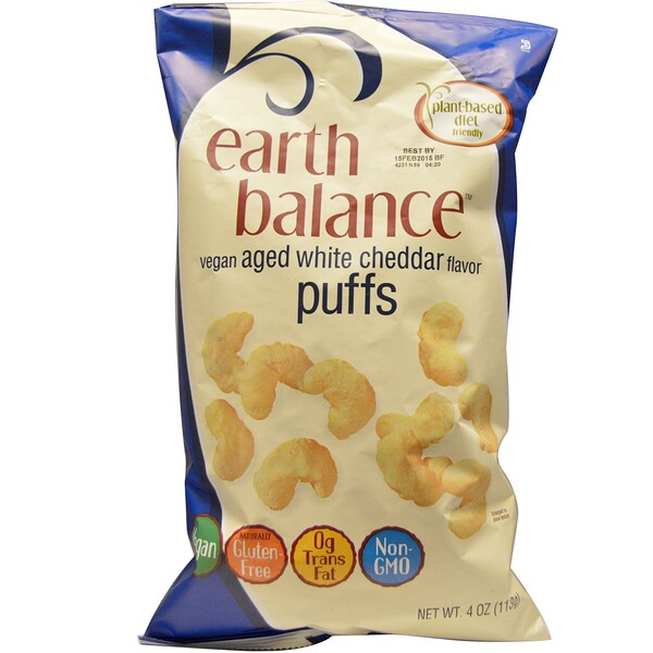 Earth Balance, Vegan Puffs, Aged White Cheddar Flavor, 4 oz (113 g)