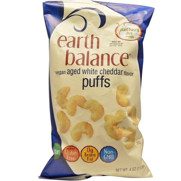 Earth Balance, Vegan Puffs, Aged White Cheddar Flavor, 4 oz (113 g) (Discontinued Item)