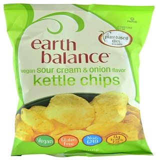 Earth Balance, Vegan Kettle Chips, Sour Cream & Onion, 5.0 oz (141 g)