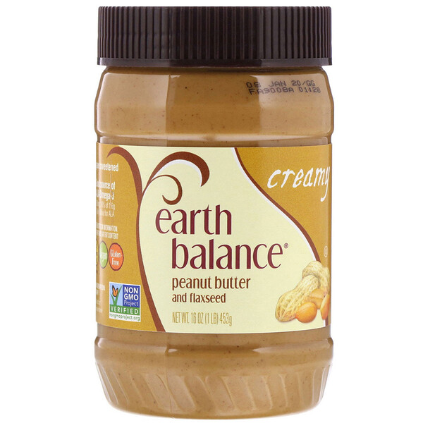 Earth Balance, Peanut Butter and Flaxseed, Creamy, 16 oz (453 g)