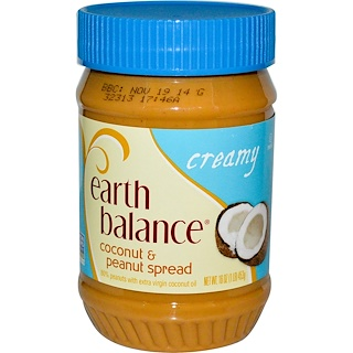 Earth Balance, Coconut & Peanut Spread, Creamy, 16 oz (453 g)
