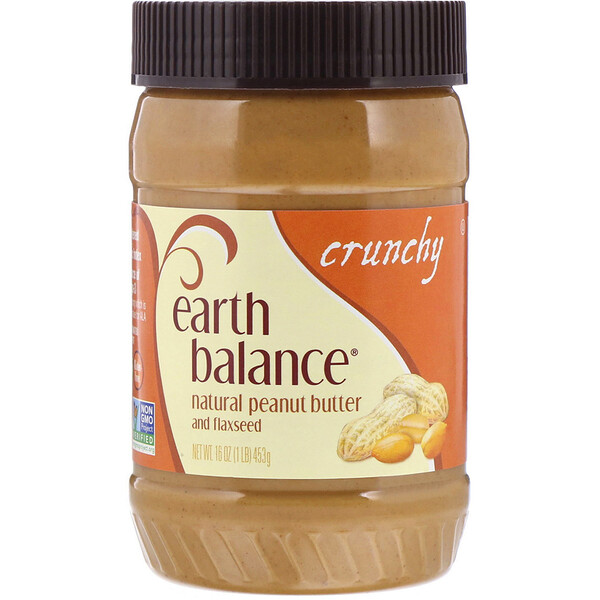 Earth Balance, Manteca de Maní Natural y Linaza, Crujiente, 16 oz (453 g) (Discontinued Item)