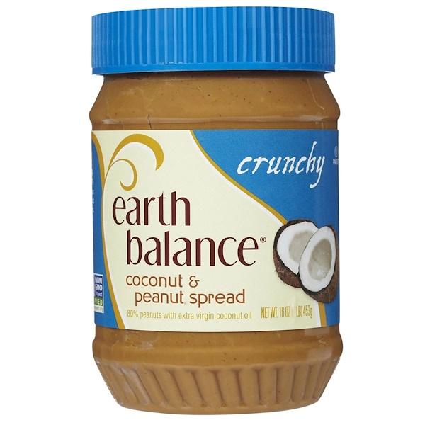 Earth Balance, 코코넛 & 땅콩 스프레드, 크런치, 16 oz (453 g)