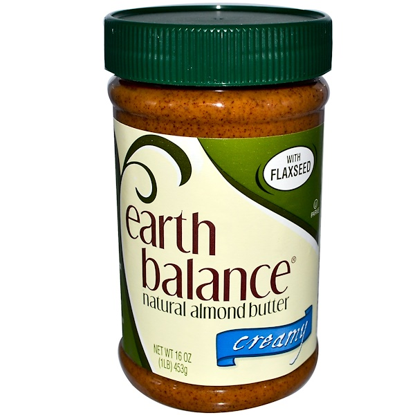 Earth Balance, Natural Almond Butter with Flaxseed, Creamy, 1 lb (453 g) (Discontinued Item)