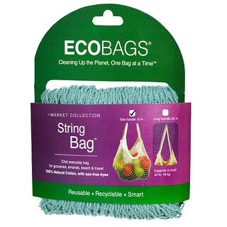 ECOBAGS, Market Collection, String Bag, Tote Handle 10 in, Washed Blue, 1 Bag