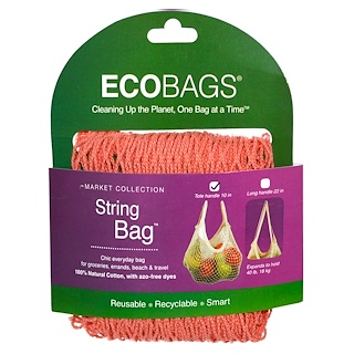 ECOBAGS, Market Collection, String Bag, Tote Handle 10 in, Coral Rose, 1 Bag