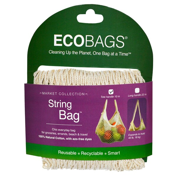 ECOBAGS, Market Collection, String Bag, Tote Handle 10 in, Natural, 1 Bag