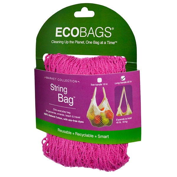 ECOBAGS, Market Collection, String Bag, Long Handle 22 in, Fuchsia, 1 Bag