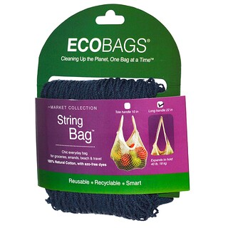ECOBAGS, Market Collection, String Bag, Long Handle 22 in, Storm Blue, 1 Bag