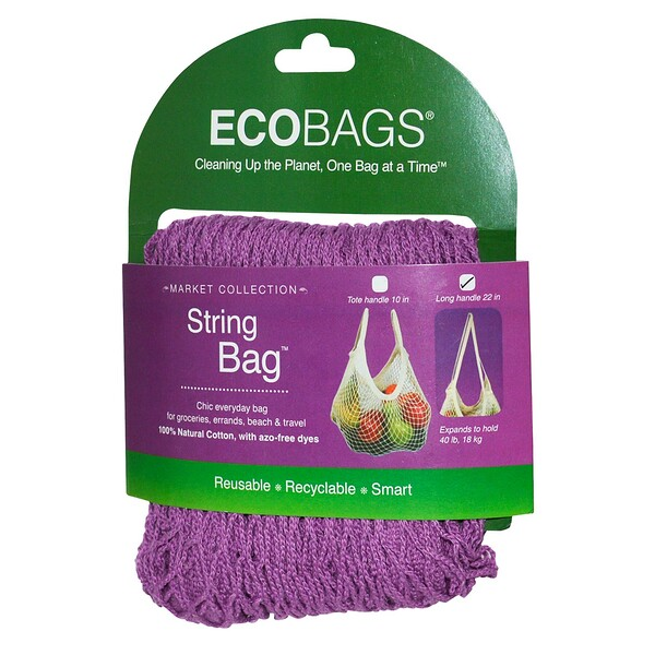 Market Collection, String Bag, Long Handle 22 in, Raspberry, 1 Bag