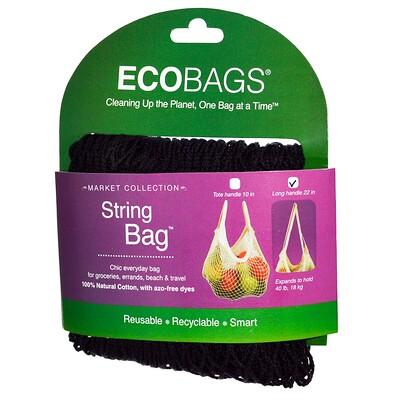 ECOBAGS Коллекция для рынка, авоська, длинная ручка 22 дюйма, черный, 1 сумка