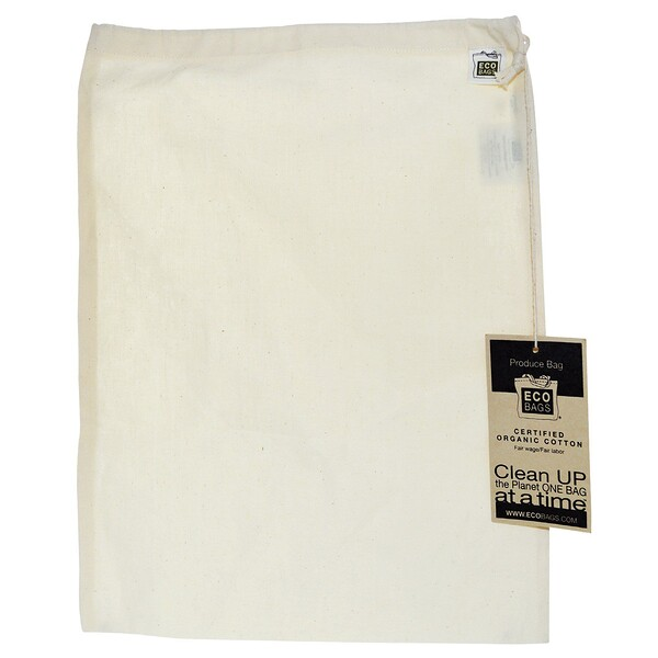 "ECOBAGS, Organic Cotton Produce Bag, Large, 1 Bag, 12""w x 15""h"