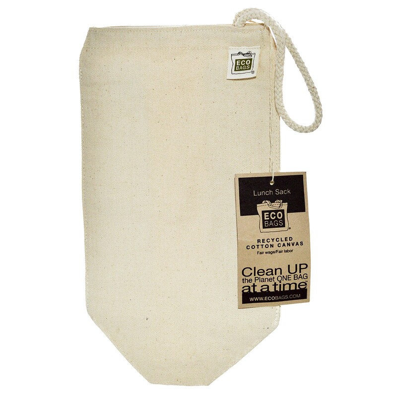 """Recycled Cotton Canvas Lunch Sack, 1 Bag, 7""""w x 10.5""""h"""