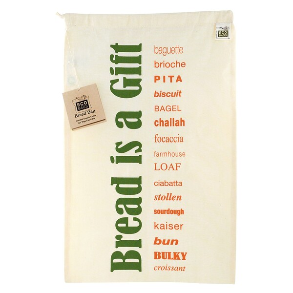 "Certified Organic Cotton, Printed Reusable Bread Bag, 1 Bag, 11.5""W x 18""H"