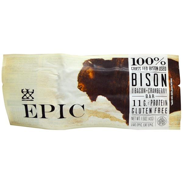 Epic Bar, Бизон, Бекон + клюква, 12 батончиков по 1,5 унции (43 г) (Discontinued Item)