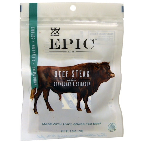 Epic Bar, Bites, Beef Steak with Cranberry & Sriracha, 2.5 oz (71 g) (Discontinued Item)