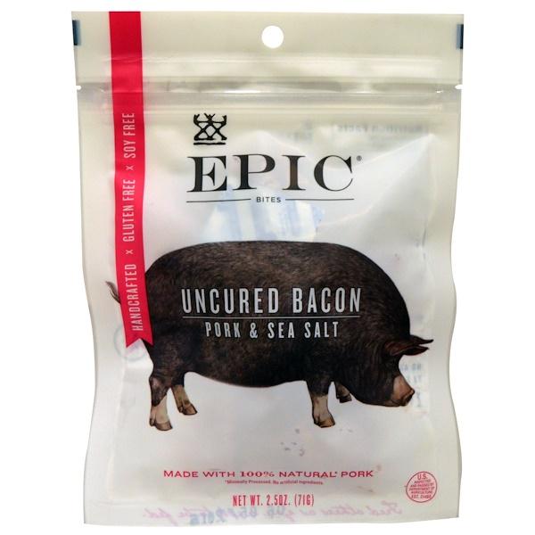 Epic Bar, Bites, Uncured Bacon, Pork & Sea Salt, 2.5 oz (71 g) (Discontinued Item)