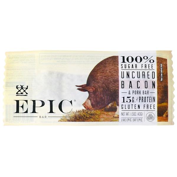 Epic Bar, Uncured Bacon & Pork Bar, 12 Bars, 1.5 oz (43 g) Each (Discontinued Item)