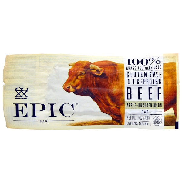 Epic Bar, Beef, Apple + Uncured Bacon Bar, 12 bars, 1.5 oz (43 g) Each (Discontinued Item)