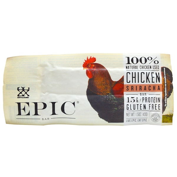 Epic Bar, Chicken Sriracha Bar, 12 Bars, 1.5 oz (43 g) Each (Discontinued Item)