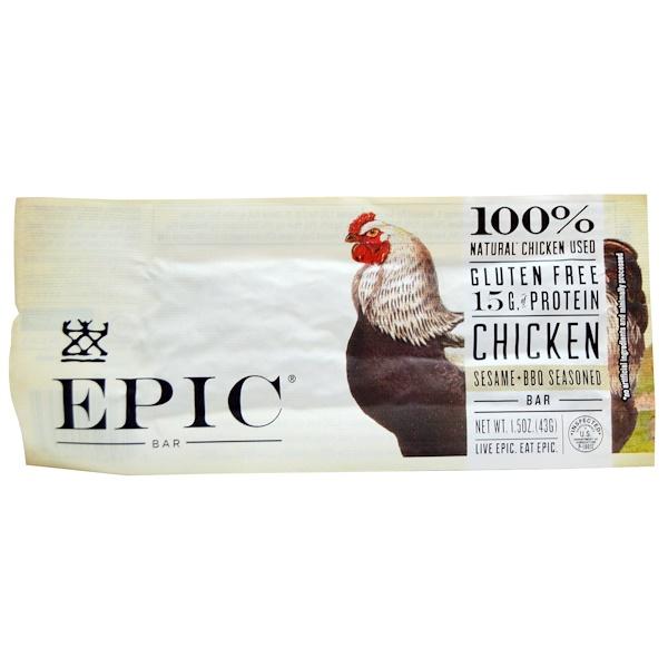 Epic Bar, Chicken, Sesame + BBQ Seasoned Bars, 12 bars, 1.5 oz (43 g) Each (Discontinued Item)