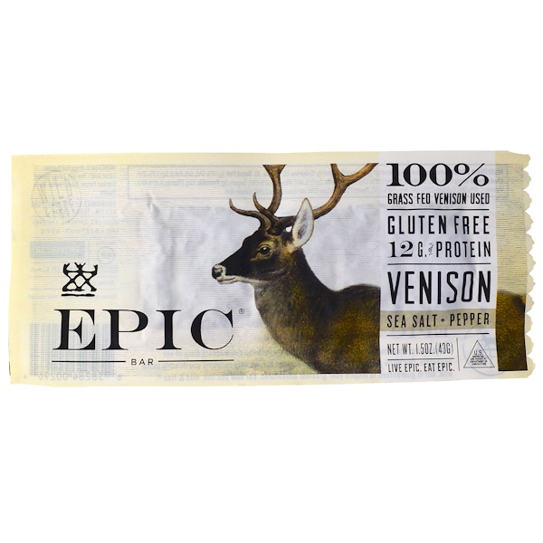 Epic Bar, Venison Sea Salt Pepper Bar, 12 Bars, 1.5 oz (43 g) Each (Discontinued Item)